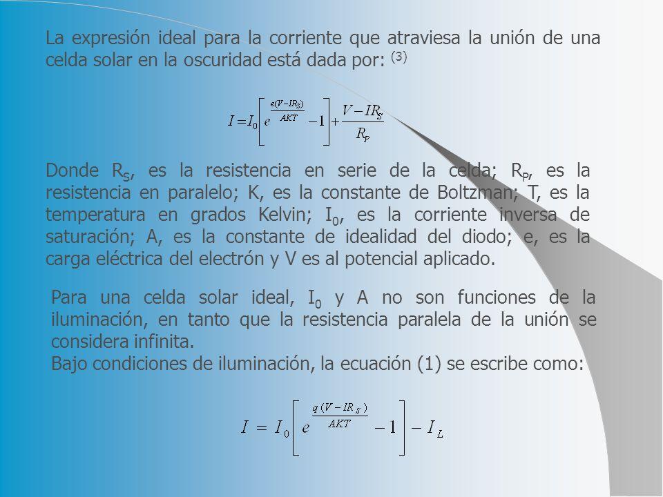 La expresión ideal para la corriente que atraviesa la unión de una celda solar en la oscuridad está dada por: (3) Donde R S, es la resistencia en seri