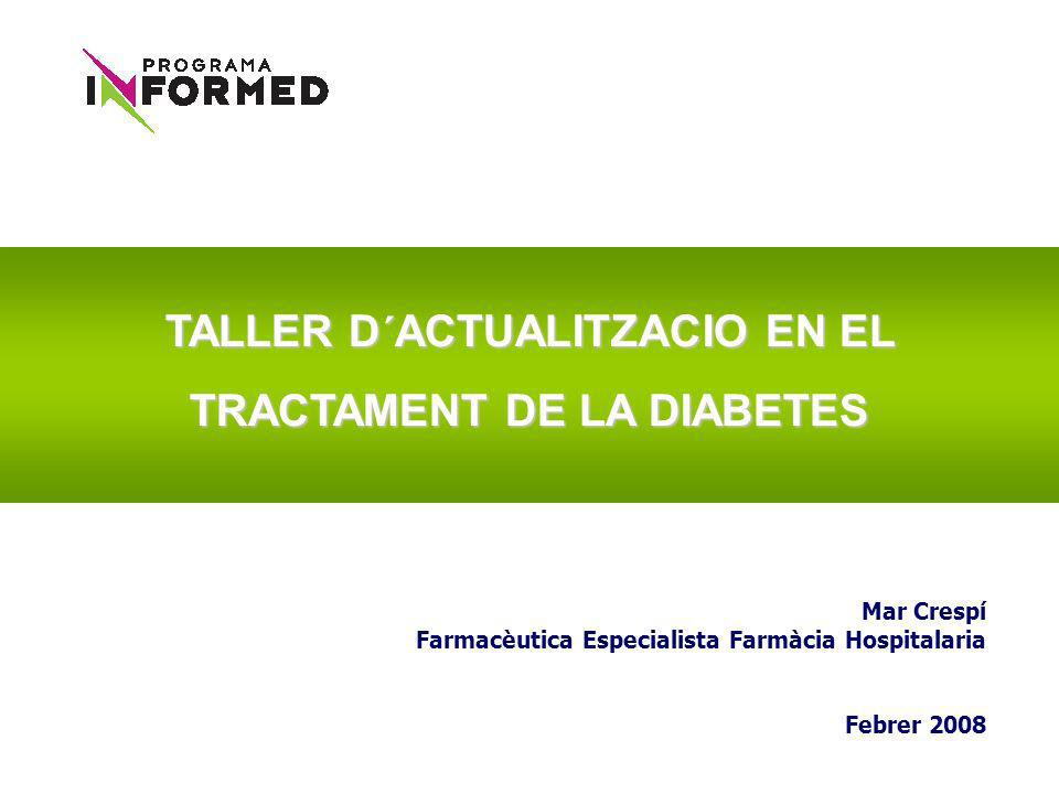 GlycemiaSBP < 120SBP < 140Group Trialmm Hg AB A1c < 6.0%5128 7.0% <= A1c <= 7.9%5123 2362237127532765 4733551810,251 Blood Pressure TrialLipid Trial 1178119313831374 1184117813701391 Estudio ACCORD (Action to Control Cardiovascular Risk in Diabetes) Inicio: enero 2001 Prevista finalización: junio 2009 Objetivo: efecto de un control intensivo de glucemia y otros factores de riesgo en la tasa de eventos cardiovasculares en pacientes con diabetes tipo 2.