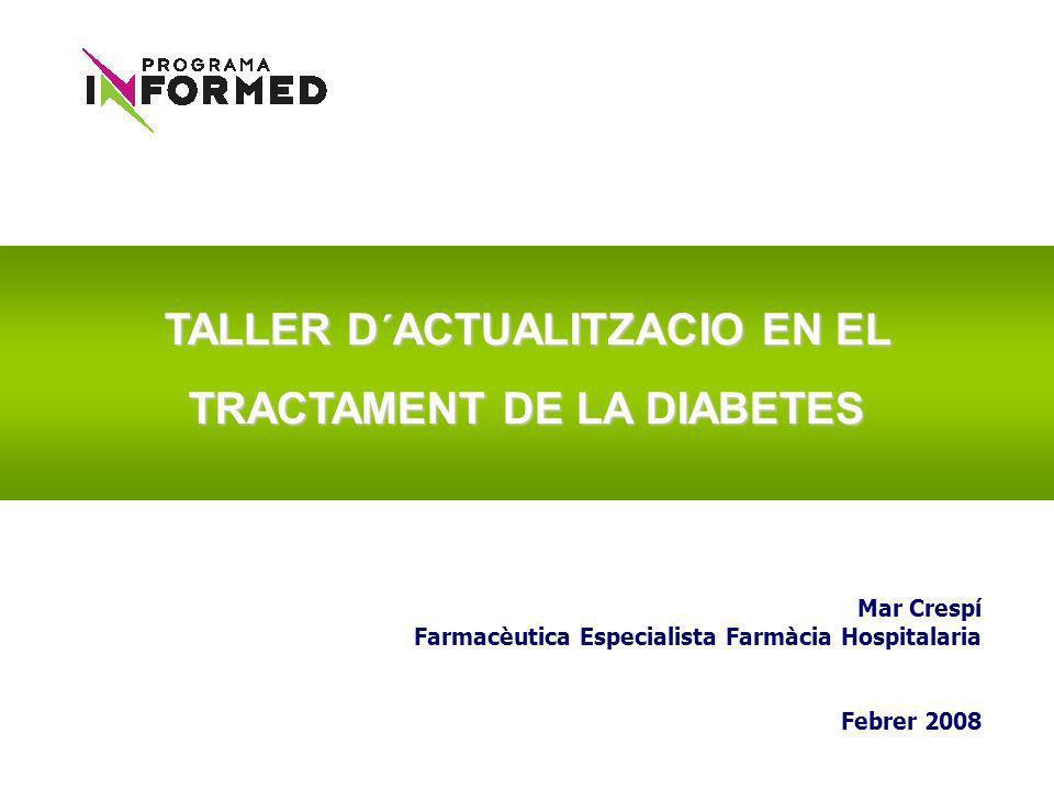 Iniciar tratamiento con 1 ADO Combinar 2 ADOs Añadir insulina Combinar 3 ADOs Diabetes Mellitus tipo 2: abordaje terapéutico HbA 1c <7% OK HbA 1c 7% HbA 1c <7% OK HbA 1c 7% Añadir incretina