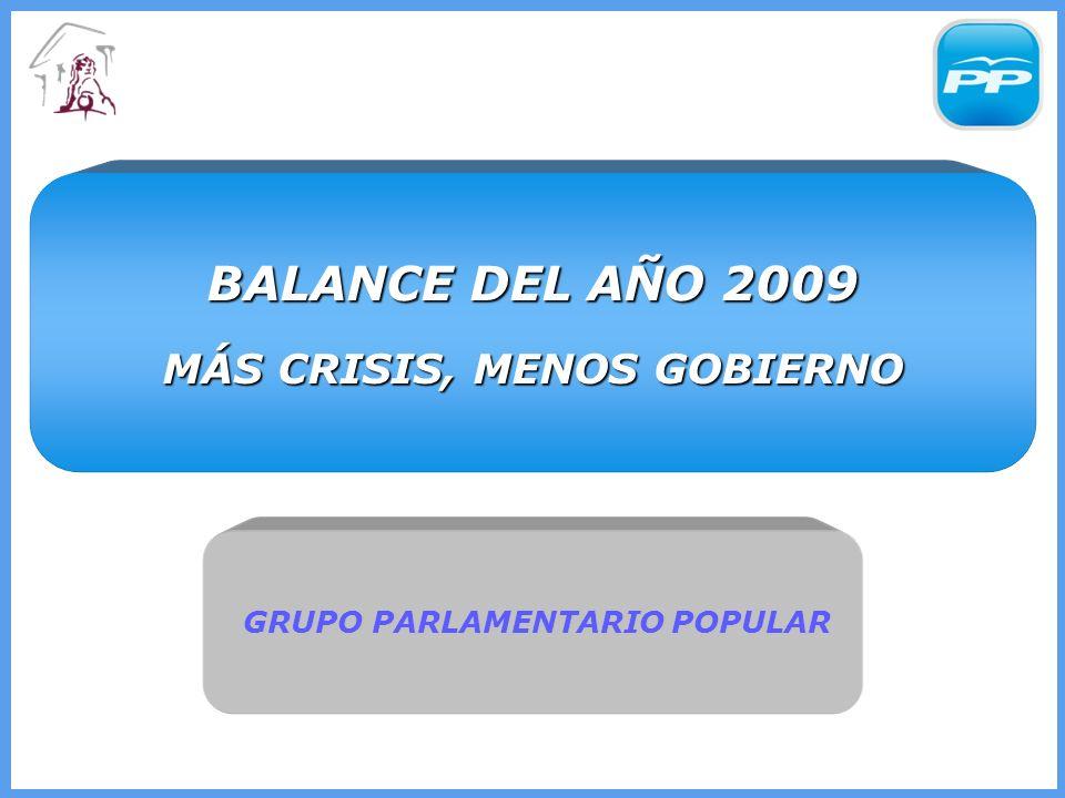 GRUPO PARLAMENTARIO POPULAR GRUPO PARLAMENTARIO POPULAR BALANCE DEL AÑO 2009 MÁS CRISIS, MENOS GOBIERNO