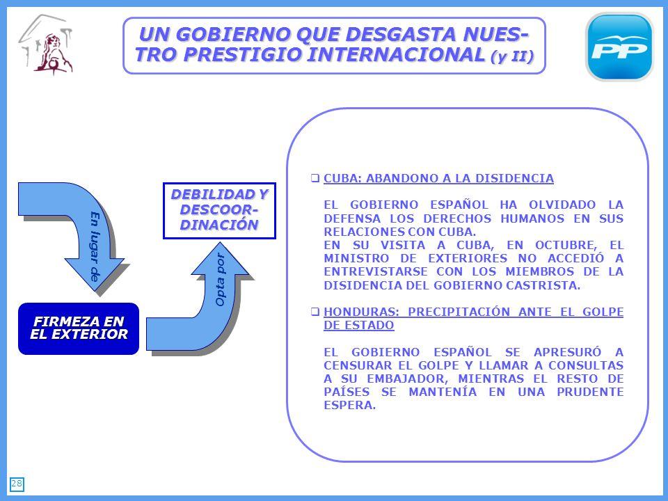 28 CUBA: ABANDONO A LA DISIDENCIA EL GOBIERNO ESPAÑOL HA OLVIDADO LA DEFENSA LOS DERECHOS HUMANOS EN SUS RELACIONES CON CUBA.