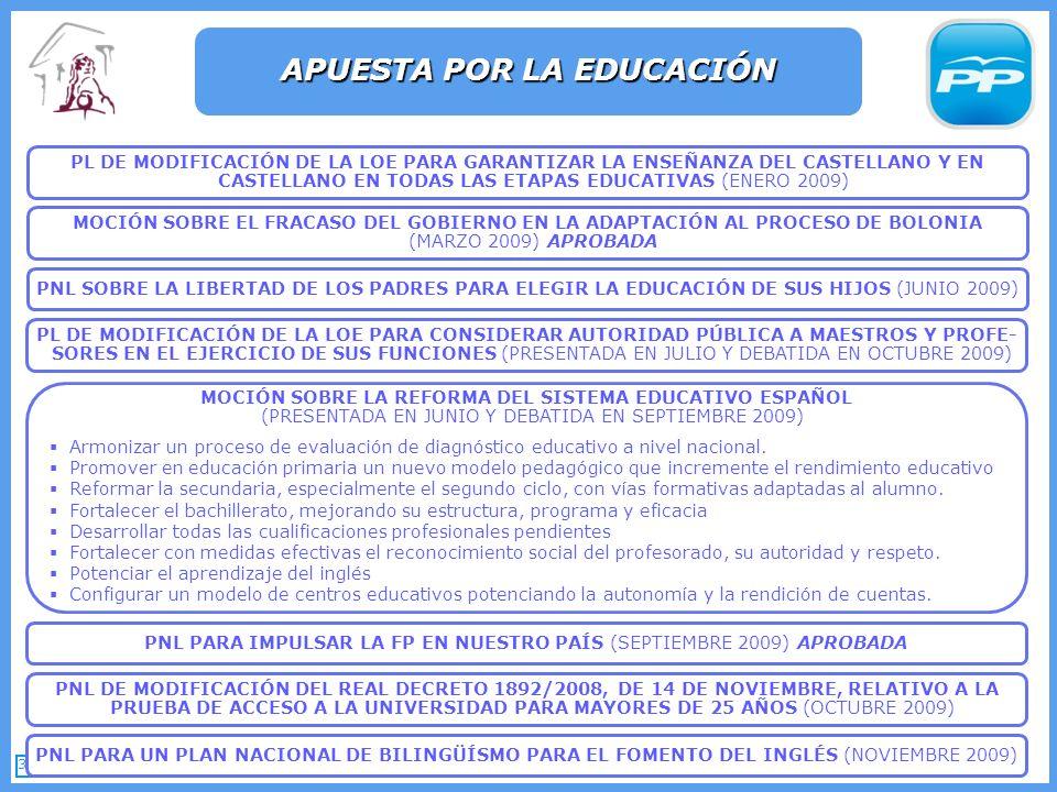 38 APUESTA POR LA EDUCACIÓN PNL PARA IMPULSAR LA FP EN NUESTRO PAÍS (SEPTIEMBRE 2009) APROBADA PNL PARA UN PLAN NACIONAL DE BILINGÜÍSMO PARA EL FOMENTO DEL INGLÉS (NOVIEMBRE 2009) MOCIÓN SOBRE LA REFORMA DEL SISTEMA EDUCATIVO ESPAÑOL (PRESENTADA EN JUNIO Y DEBATIDA EN SEPTIEMBRE 2009) Armonizar un proceso de evaluación de diagnóstico educativo a nivel nacional.