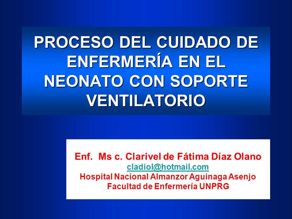 PROCESO DEL CUIDADO DE ENFERMERÍA EN EL NEONATO CON SOPORTE VENTILATORIO Enf. Ms c. Clarivel de Fátima Díaz Olano cladiol@hotmail.com Hospital Naciona