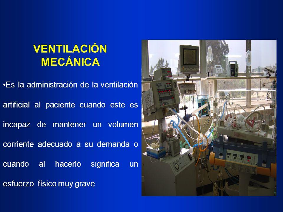 VENTILACIÓN MECÁNICA Es la administración de la ventilación artificial al paciente cuando este es incapaz de mantener un volumen corriente adecuado a