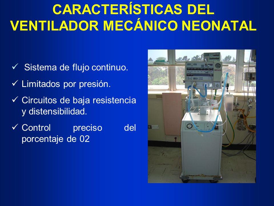 CARACTERÍSTICAS DEL VENTILADOR MECÁNICO NEONATAL Sistema de flujo continuo. Limitados por presión. Circuitos de baja resistencia y distensibilidad. Co