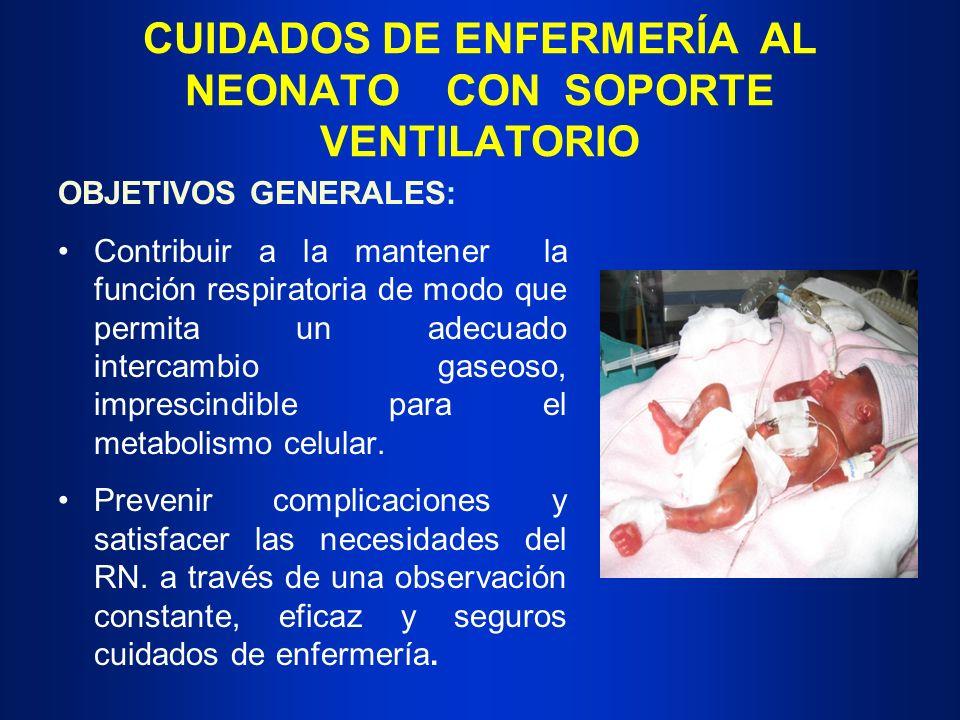 CUIDADOS DE ENFERMERÍA AL NEONATO CON SOPORTE VENTILATORIO OBJETIVOS GENERALES: Contribuir a la mantener la función respiratoria de modo que permita u