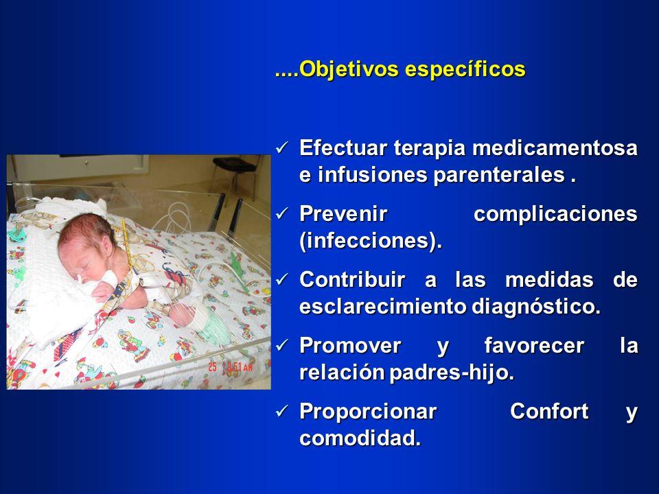 ....Objetivos específicos Efectuar terapia medicamentosa e infusiones parenterales. Efectuar terapia medicamentosa e infusiones parenterales. Prevenir