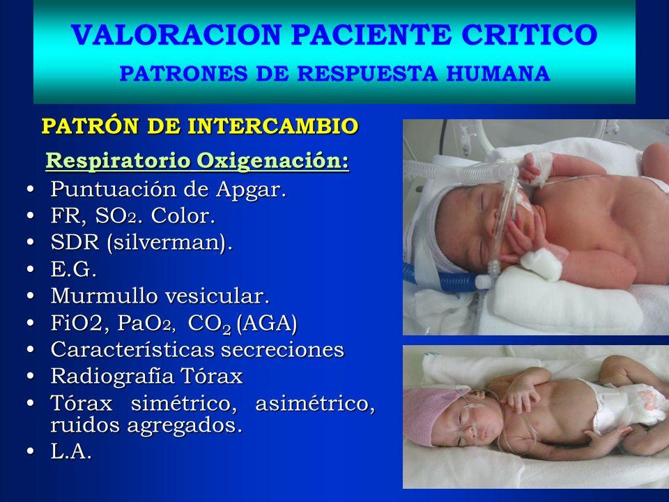 VALORACION PACIENTE CRITICO PATRONES DE RESPUESTA HUMANA PATRÓN DE INTERCAMBIO Respiratorio Oxigenación: Respiratorio Oxigenación: Puntuación de Apgar