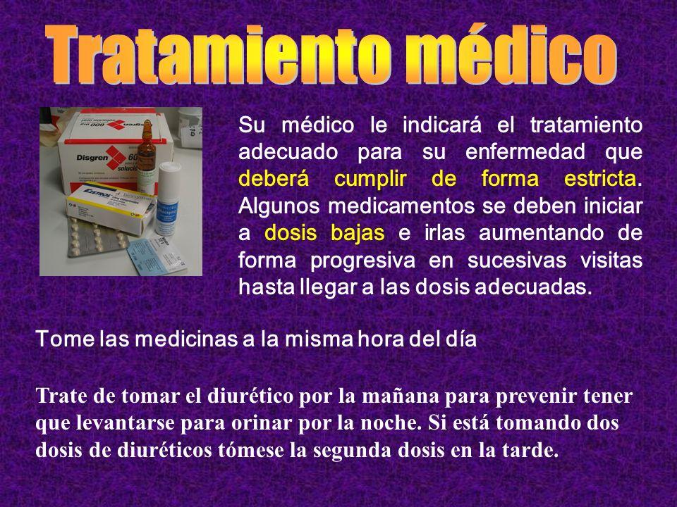 Su médico le indicará el tratamiento adecuado para su enfermedad que deberá cumplir de forma estricta. Algunos medicamentos se deben iniciar a dosis b