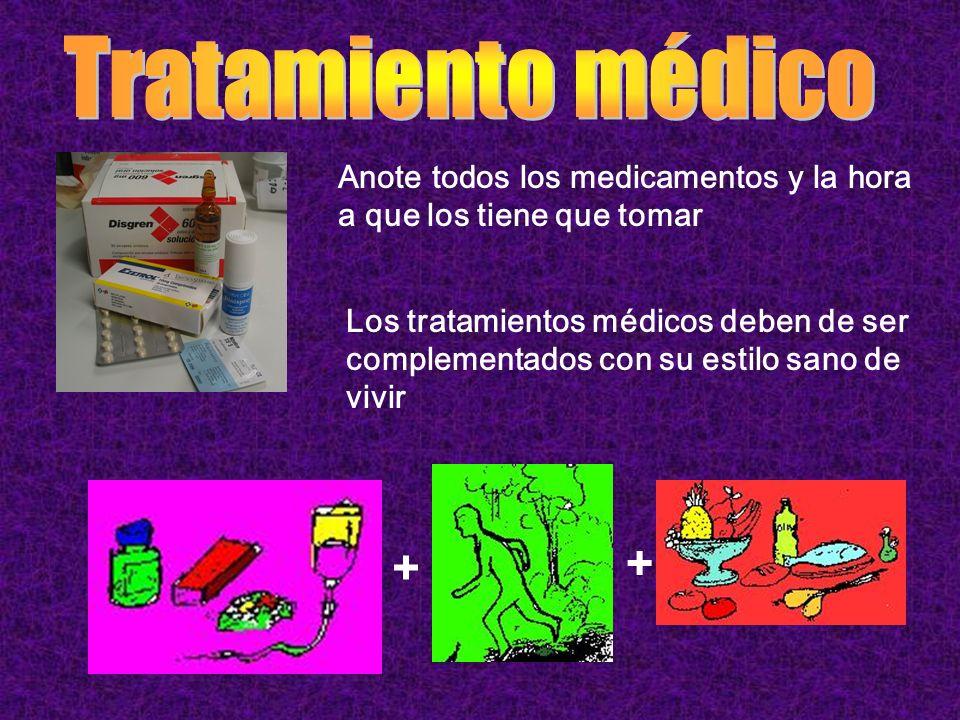 Anote todos los medicamentos y la hora a que los tiene que tomar Los tratamientos médicos deben de ser complementados con su estilo sano de vivir + +