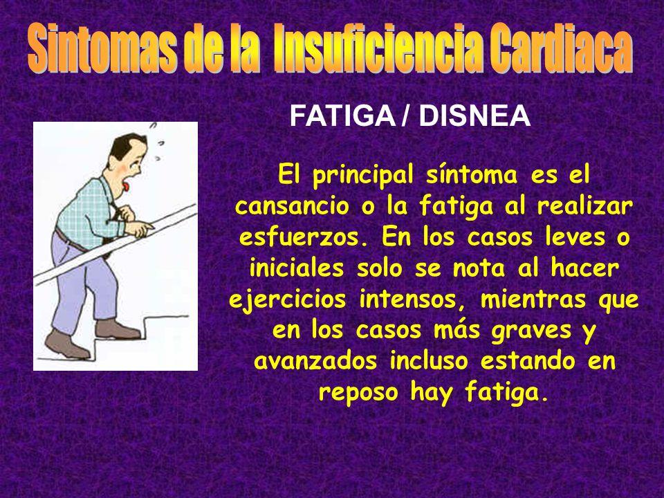 También es frecuente, especialmente si se afecta el lado derecho del corazón que notemos hinchazón de piernas.