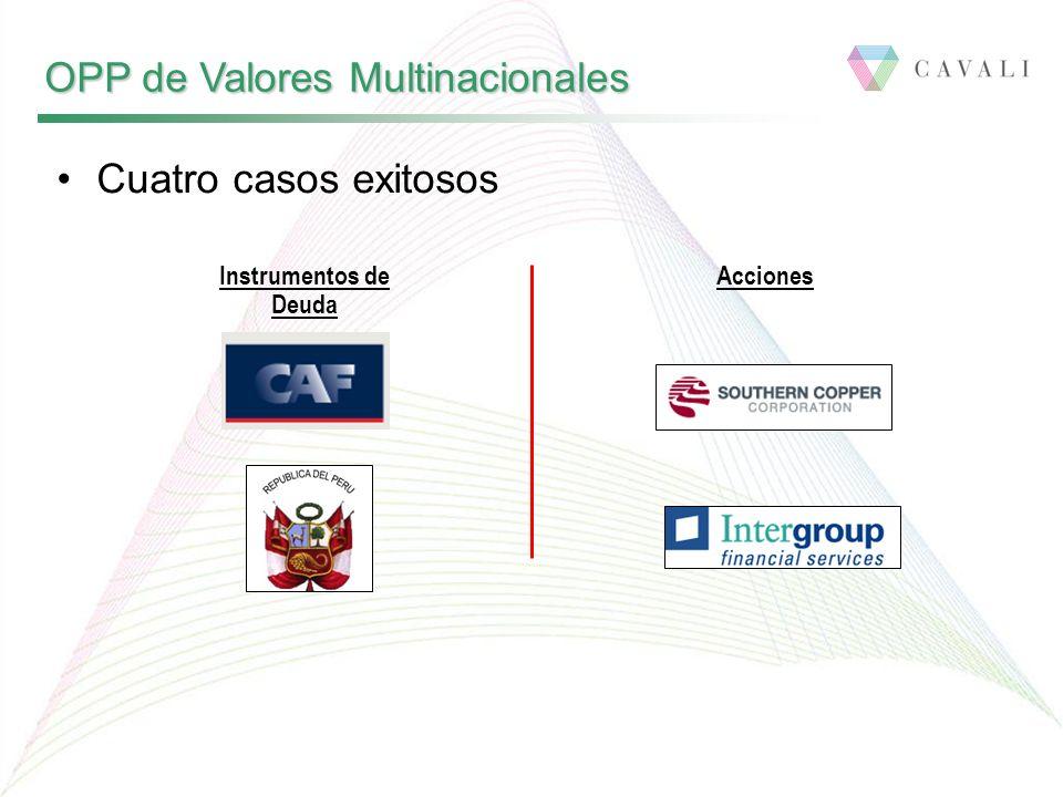 OPP de Valores Multinacionales Cuatro casos exitosos Instrumentos de Deuda Acciones