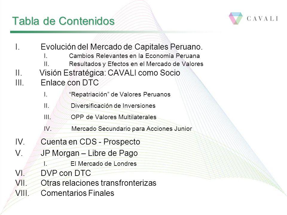 I.Evolución del Mercado de Capitales Peruano. I. Cambios Relevantes en la Economía Peruana II. Resultados y Efectos en el Mercado de Valores II. Visió