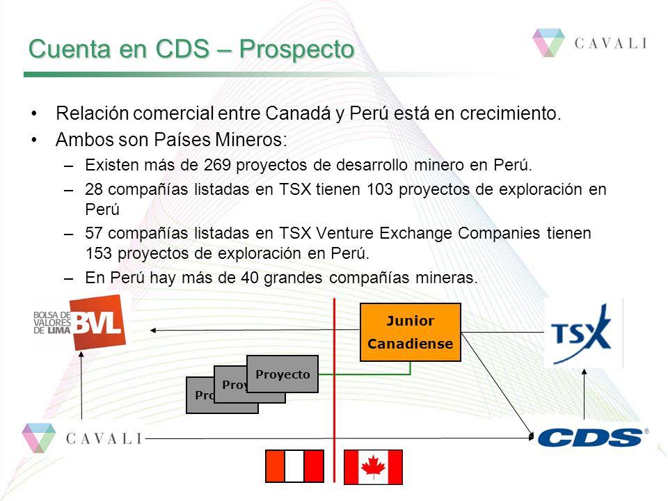 Cuenta en CDS – Prospecto Junior Canadiense Proyecto Relación comercial entre Canadá y Perú está en crecimiento. Ambos son Países Mineros: –Existen má