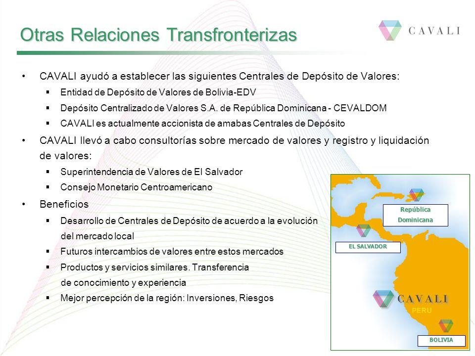 CAVALI ayudó a establecer las siguientes Centrales de Depósito de Valores: Entidad de Depósito de Valores de Bolivia-EDV Depósito Centralizado de Valo