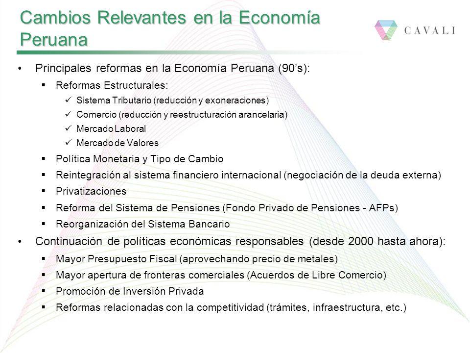 Principales reformas en la Economía Peruana (90s): Reformas Estructurales: Sistema Tributario (reducción y exoneraciones) Comercio (reducción y reestructuración arancelaria) Mercado Laboral Mercado de Valores Política Monetaria y Tipo de Cambio Reintegración al sistema financiero internacional (negociación de la deuda externa) Privatizaciones Reforma del Sistema de Pensiones (Fondo Privado de Pensiones - AFPs) Reorganización del Sistema Bancario Continuación de políticas económicas responsables (desde 2000 hasta ahora): Mayor Presupuesto Fiscal (aprovechando precio de metales) Mayor apertura de fronteras comerciales (Acuerdos de Libre Comercio) Promoción de Inversión Privada Reformas relacionadas con la competitividad (trámites, infraestructura, etc.) Cambios Relevantes en la Economía Peruana