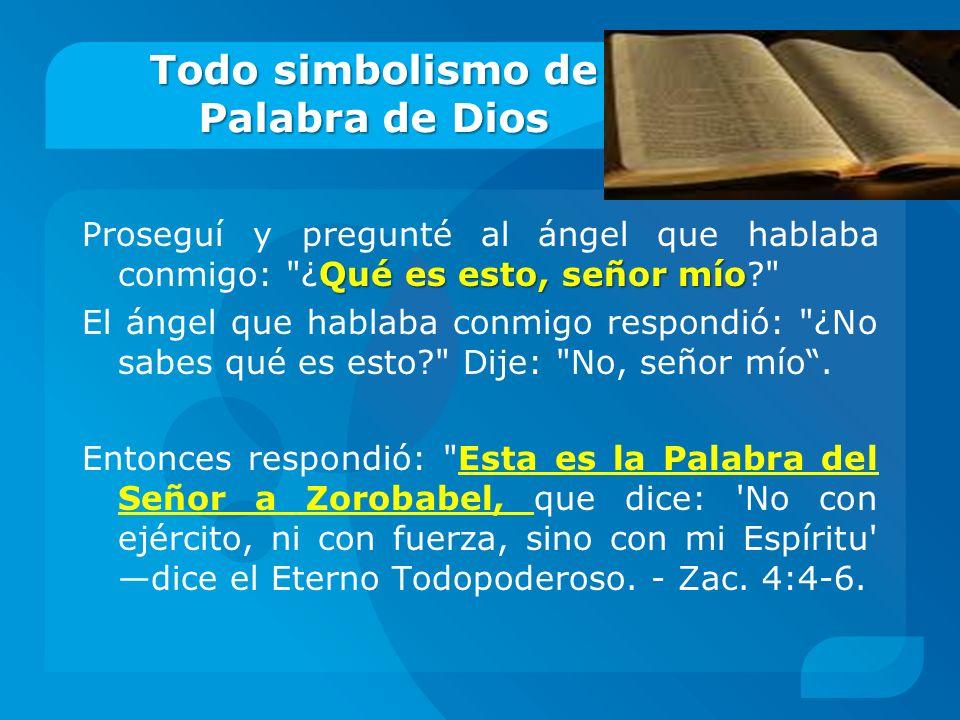 Todo simbolismo de Palabra de Dios Qué es esto, señor mío Proseguí y pregunté al ángel que hablaba conmigo: