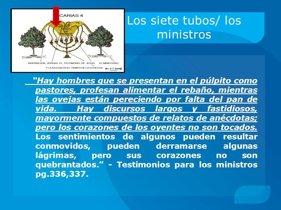 Los siete tubos/ los ministros Hay hombres que se presentan en el púlpito como pastores, profesan alimentar el rebaño, mientras las ovejas están perec