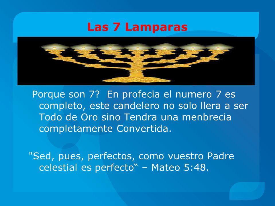 Las 7 Lamparas Porque son 7? En profecia el numero 7 es completo, este candelero no solo llera a ser Todo de Oro sino Tendra una menbrecia completamen