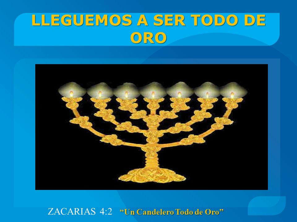 LLEGUEMOS A SER TODO DE ORO Un Candelero Todo de Oro ZACARIAS 4:2 Un Candelero Todo de Oro