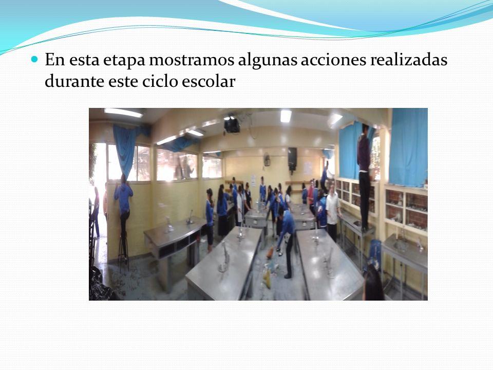 En esta etapa mostramos algunas acciones realizadas durante este ciclo escolar