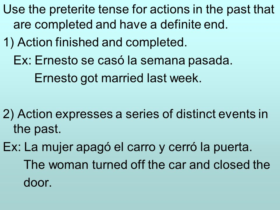 The imperfect tense is used to express past actions that are not seen as completed.
