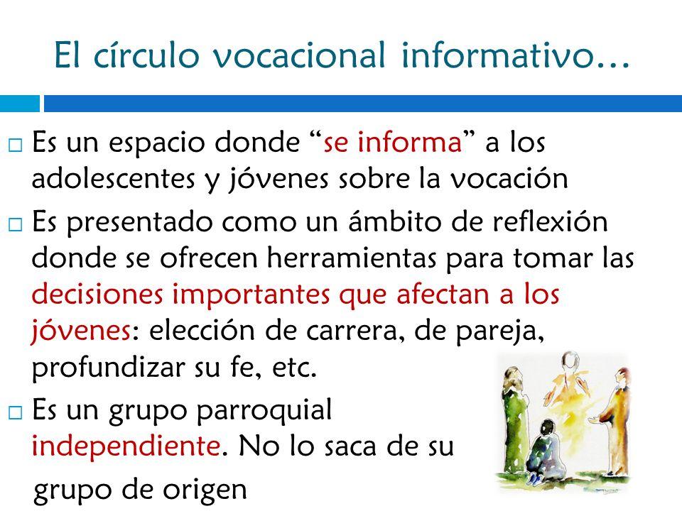 El círculo vocacional informativo… Es un espacio donde se informa a los adolescentes y jóvenes sobre la vocación Es presentado como un ámbito de refle