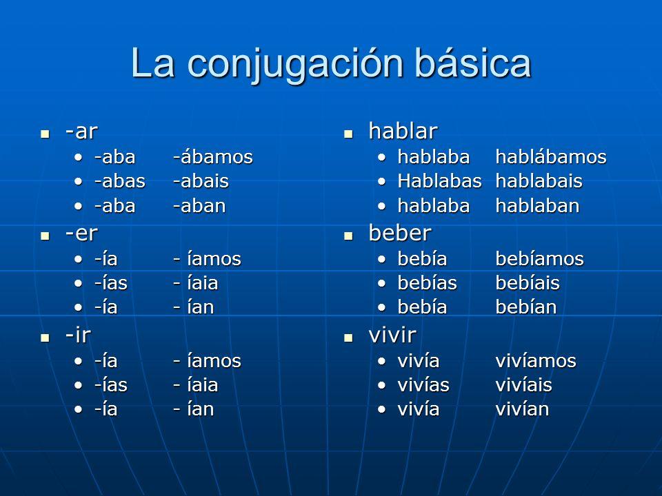 La conjugación básica -ar -ar -aba-ábamos-aba-ábamos -abas-abais-abas-abais -aba-aban-aba-aban -er -er -ía- íamos-ía- íamos -ías- íaia-ías- íaia -ía -