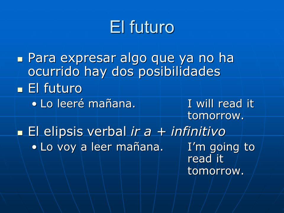 El futuro Para expresar algo que ya no ha ocurrido hay dos posibilidades Para expresar algo que ya no ha ocurrido hay dos posibilidades El futuro El f