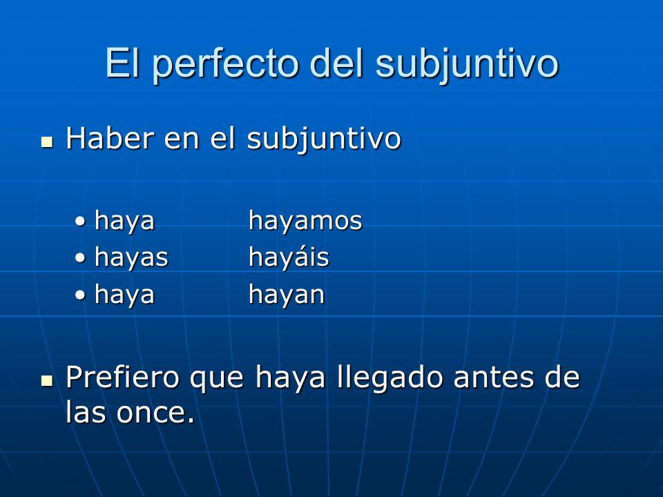 El perfecto del subjuntivo Haber en el subjuntivo Haber en el subjuntivo haya hayamoshaya hayamos hayas hayáishayas hayáis haya hayanhaya hayan Prefie