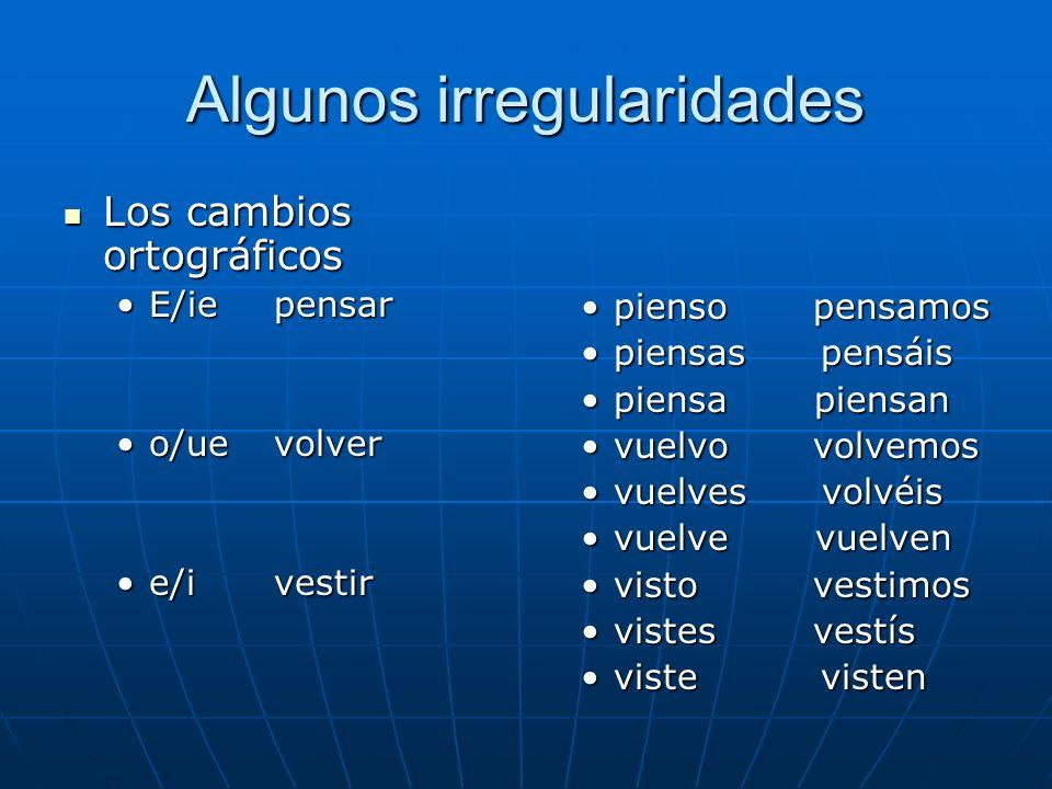 Algunos irregularidades Los cambios ortográficos Los cambios ortográficos E/iepensarE/iepensar o/uevolvero/uevolver e/ivestire/ivestir pienso pensamos