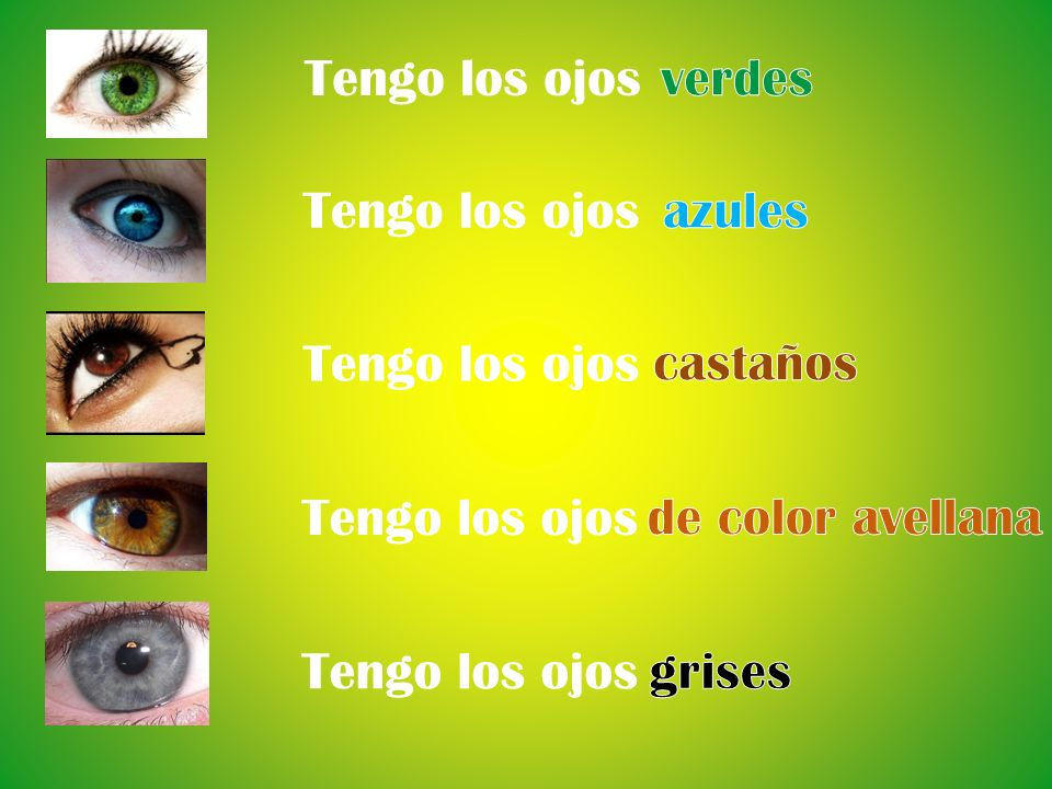 Each person describe their eye colour.