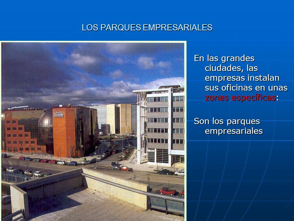 LOS PARQUES EMPRESARIALES En las grandes ciudades, las empresas instalan sus oficinas en unas zonas específicas: Son los parques empresariales