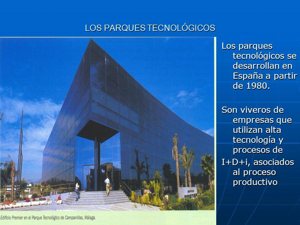 LOS PARQUES TECNOLÓGICOS Los parques tecnológicos se desarrollan en España a partir de 1980. Son viveros de empresas que utilizan alta tecnología y pr