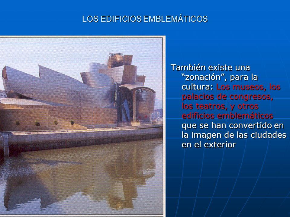 LOS EDIFICIOS EMBLEMÁTICOS También existe una zonación, para la cultura: Los museos, los palacios de congresos, los teatros, y otros edificios emblemá