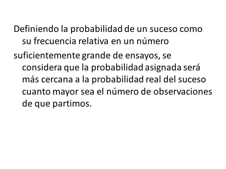 Definiendo la probabilidad de un suceso como su frecuencia relativa en un número suficientemente grande de ensayos, se considera que la probabilidad a