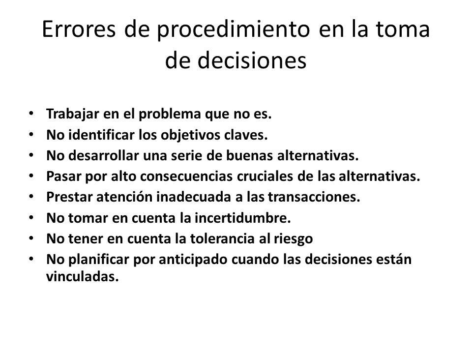 Errores de procedimiento en la toma de decisiones Trabajar en el problema que no es. No identificar los objetivos claves. No desarrollar una serie de