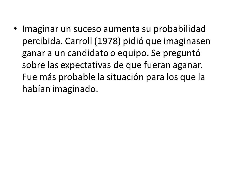 Imaginar un suceso aumenta su probabilidad percibida. Carroll (1978) pidió que imaginasen ganar a un candidato o equipo. Se preguntó sobre las expecta