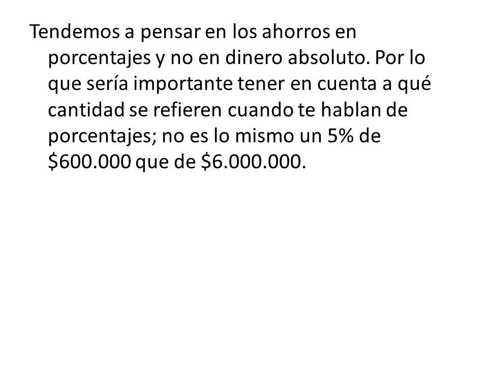 Tendemos a pensar en los ahorros en porcentajes y no en dinero absoluto. Por lo que sería importante tener en cuenta a qué cantidad se refieren cuando
