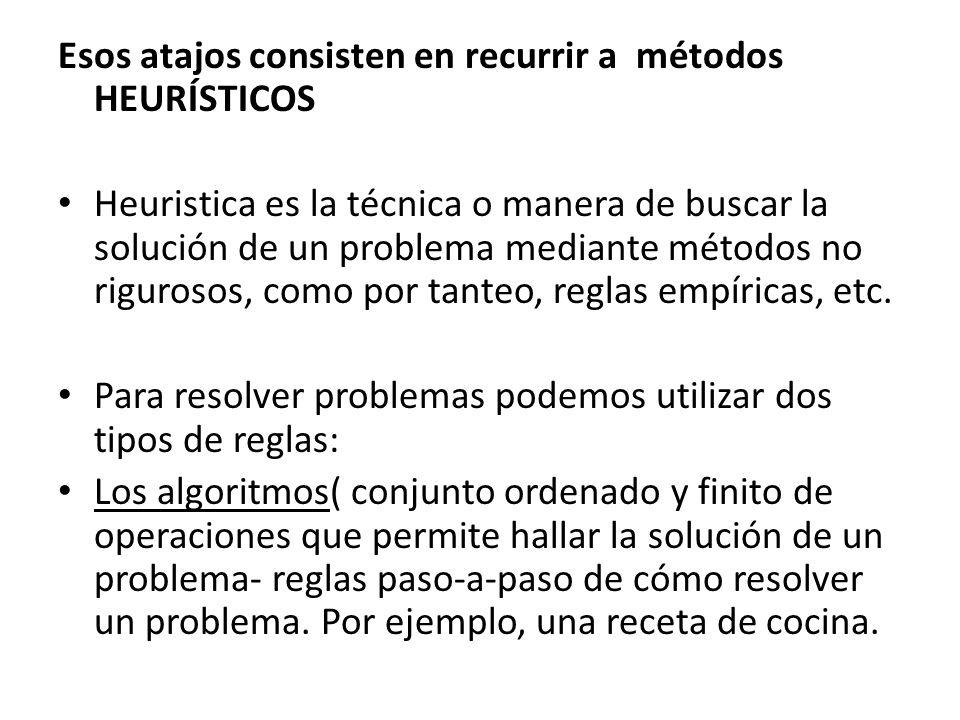 Esos atajos consisten en recurrir a métodos HEURÍSTICOS Heuristica es la técnica o manera de buscar la solución de un problema mediante métodos no rig