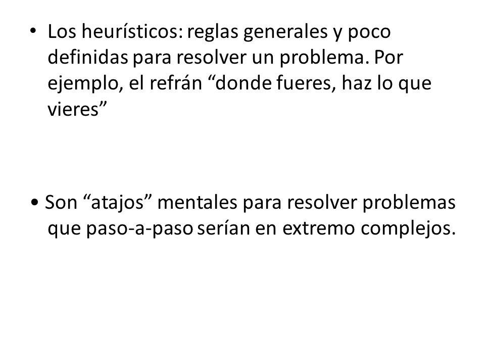 Los heurísticos: reglas generales y poco definidas para resolver un problema. Por ejemplo, el refrán donde fueres, haz lo que vieres Son atajos mental
