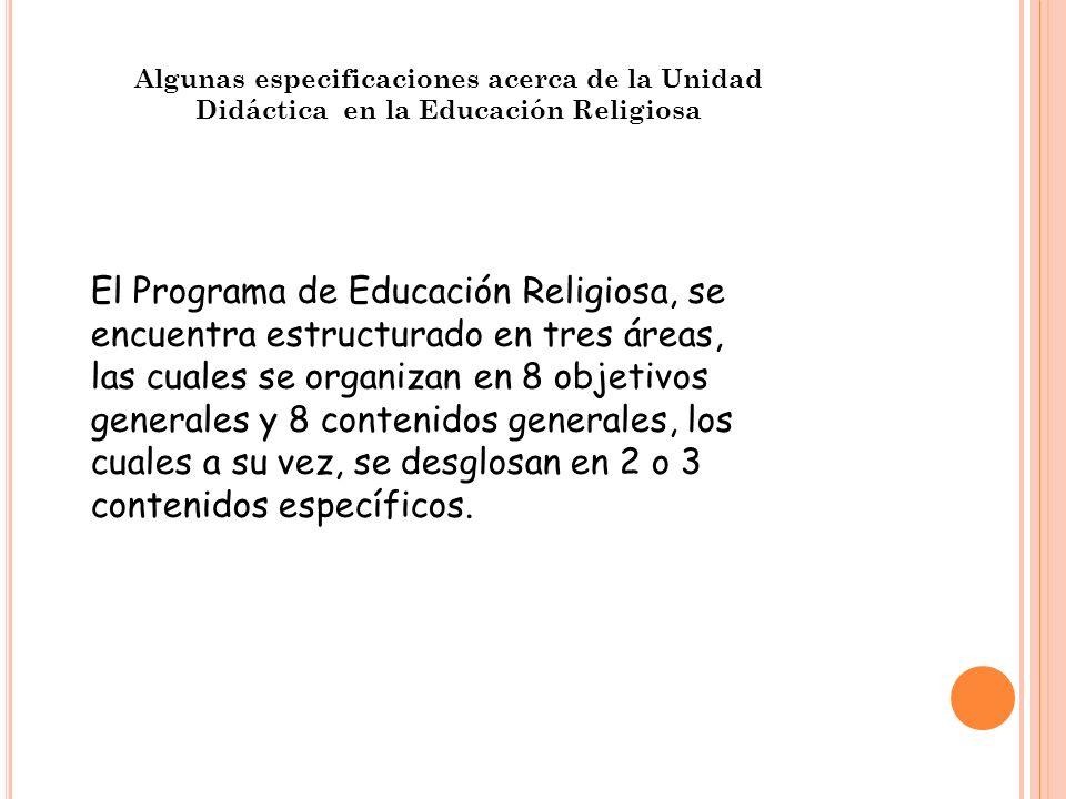 Algunas especificaciones acerca de la Unidad Didáctica en la Educación Religiosa El Programa de Educación Religiosa, se encuentra estructurado en tres