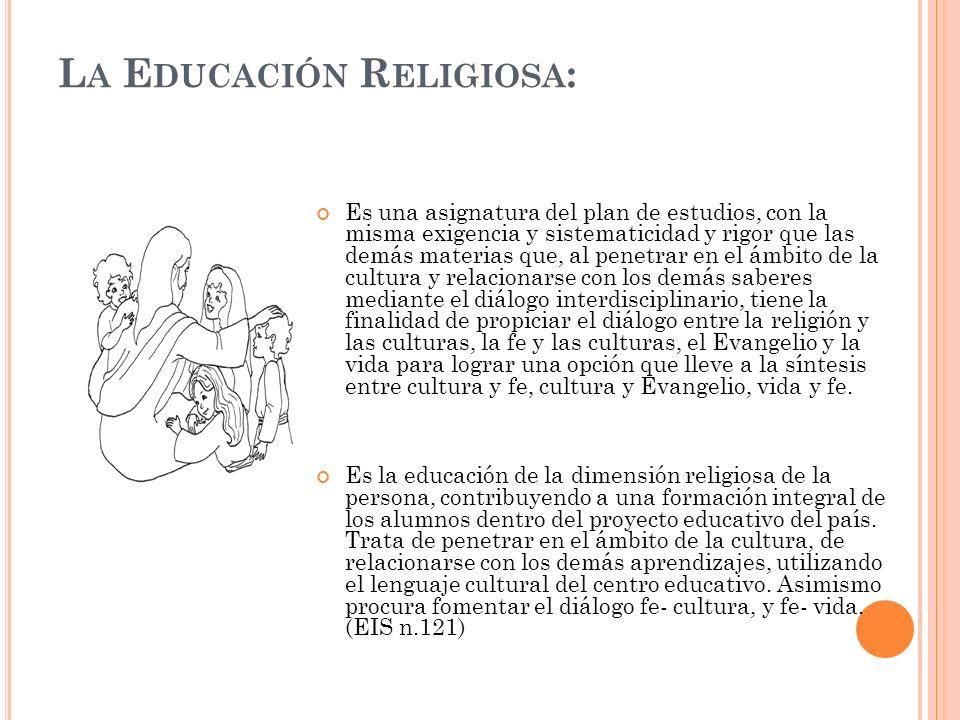 LA EDUCACIÓN RELIGIOSA ES UNA ASIGNATURA CON CARACTERÍSTICAS PROPIAS EN EL CONTEXTO DEL SISTEMA EDUCATIVO COSTARRICENSE La Educación Religiosa como asignatura del Plan de Estudios del Sistema Educativo y parte de su currículo, se caracteriza por lo siguiente: *Tener elementos y principios teóricos de carácter pedagógico, religioso y evangelizador, conforme a la interpretación cristiana católica, * Asumir el criterio ecuménico y la libertad religiosa personal, mediante el diálogo abierto y respetuoso con la cultura.
