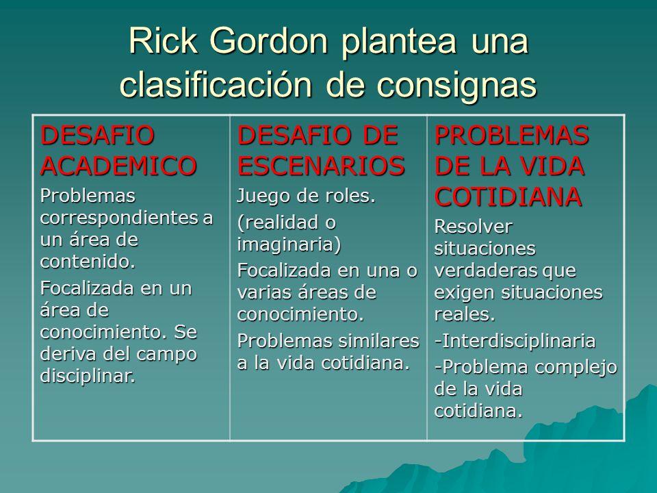 Rick Gordon plantea una clasificación de consignas DESAFIO ACADEMICO Problemas correspondientes a un área de contenido. Focalizada en un área de conoc