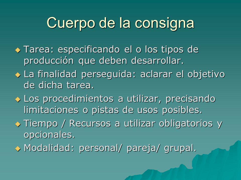 Cuerpo de la consigna Tarea: especificando el o los tipos de producción que deben desarrollar. Tarea: especificando el o los tipos de producción que d