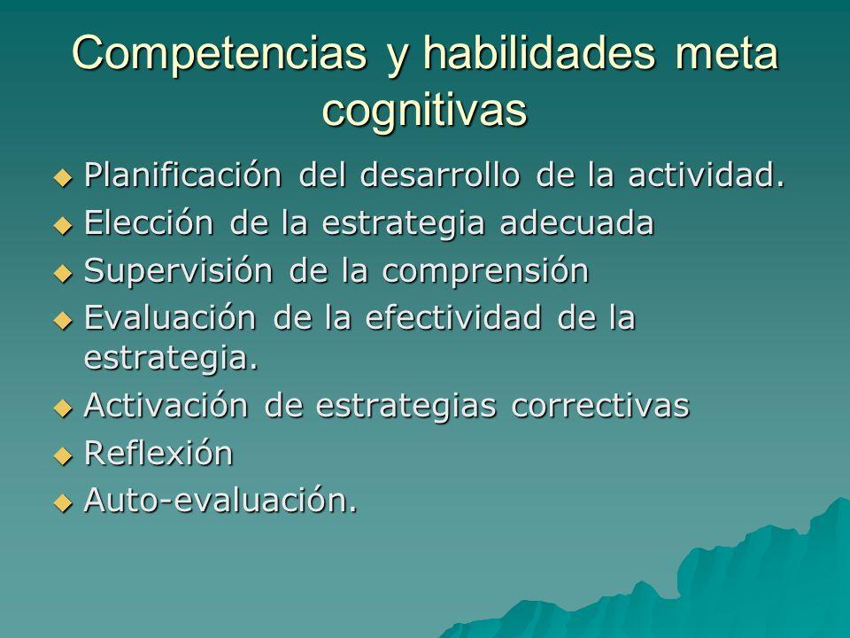Competencias y habilidades meta cognitivas Planificación del desarrollo de la actividad. Planificación del desarrollo de la actividad. Elección de la