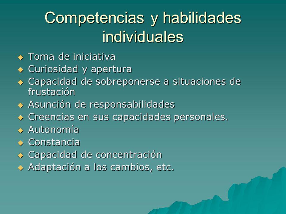 Competencias y habilidades individuales Toma de iniciativa Toma de iniciativa Curiosidad y apertura Curiosidad y apertura Capacidad de sobreponerse a