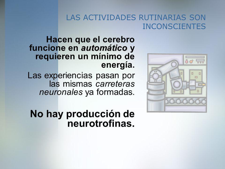 LAS ACTIVIDADES RUTINARIAS SON INCONSCIENTES automático Hacen que el cerebro funcione en automático y requieren un mínimo de energía. Las experiencias