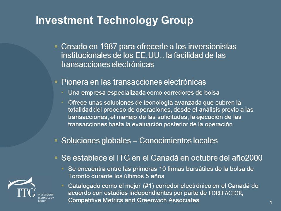 Investment Technology Group Creado en 1987 para ofrecerle a los inversionistas institucionales de los EE.UU..