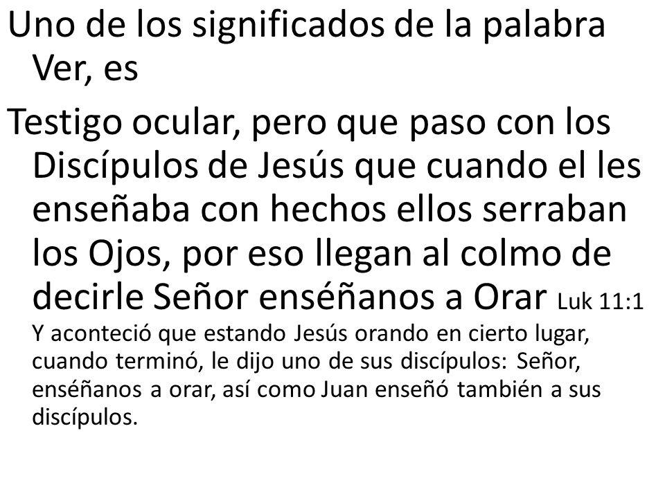Uno de los significados de la palabra Ver, es Testigo ocular, pero que paso con los Discípulos de Jesús que cuando el les enseñaba con hechos ellos se